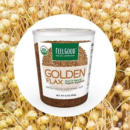 Feel Good Superfoods USDA orgánico Lino Semillas de oro 16 ...