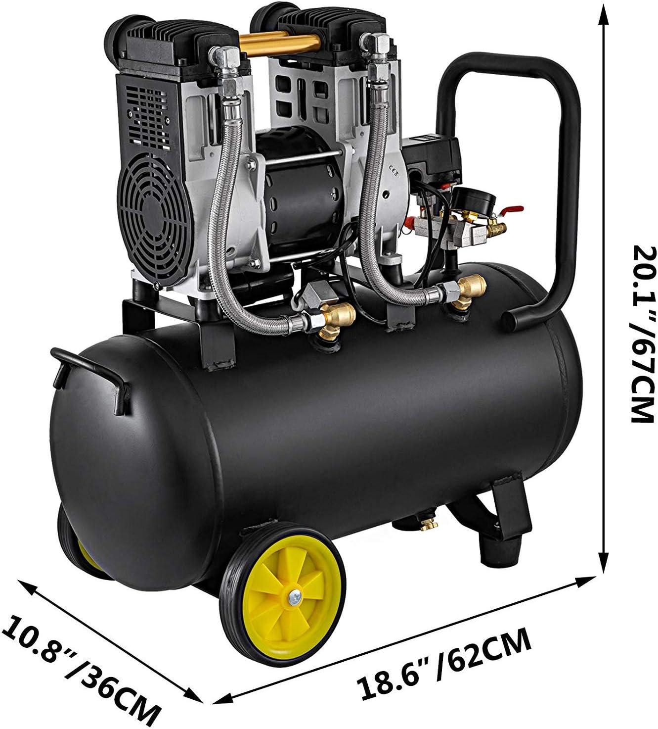 1960W Mophorn 1960W Fl/üster Kompressor /Ölfrei Luftkompressor Druckluft 50L Kessel Leise 64dB