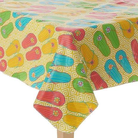 Amazon.com: Indoor / Outdoor Vinyl Tablecloth Summer Flip Flops ...