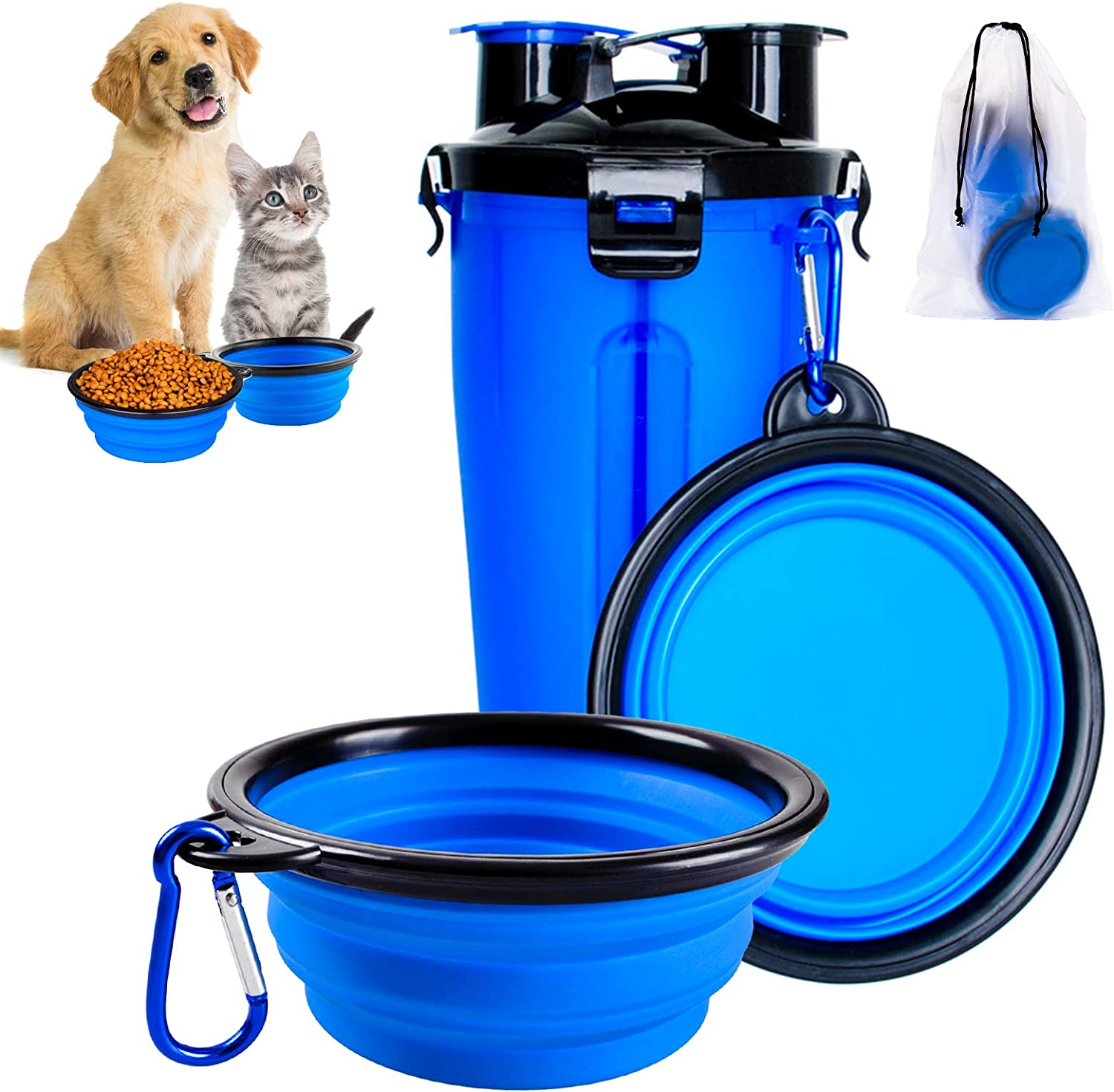 BZ Dog Travel Water Bottle, 2 in 1 Portable Dog Water Dispenser and Food Container with 2 Collapsible Bowls for Your Pets Walking, Traveling, Hiking and Camping