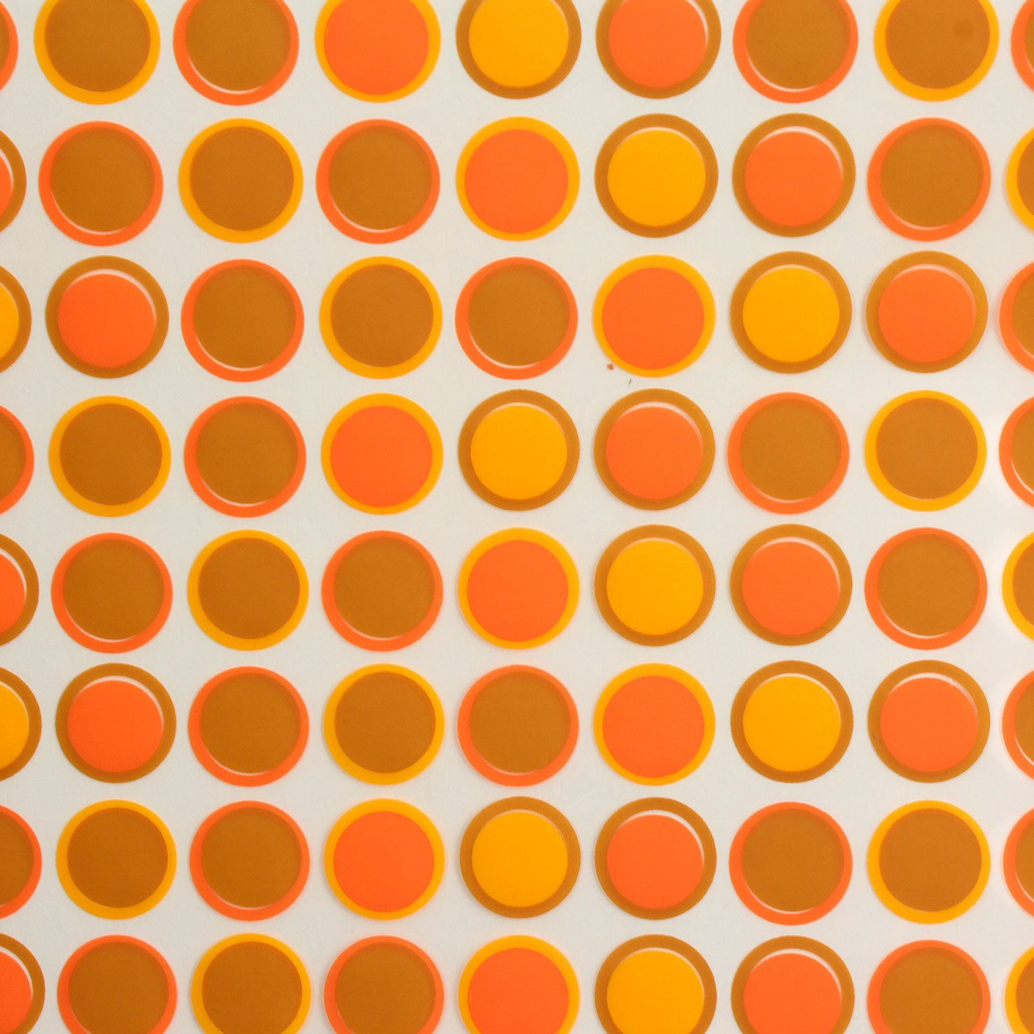 PCB Creation Chocolate Transfer Sheet, Orange and Brown Circles - Pack of 17
