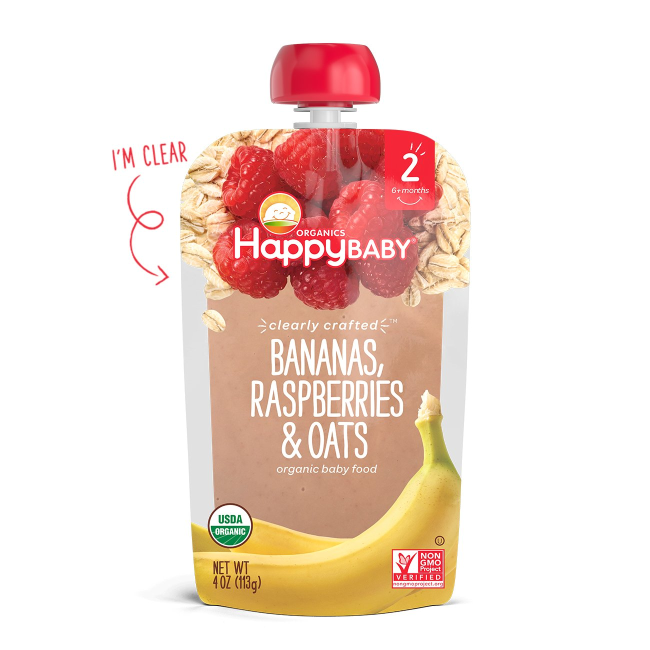 Happy Baby Organic Clearly Crafted Stage 2 Baby Food Bananas Raspberries & Oats, 4 Ounce Pouch (Pack of 16) Resealable Baby Food Pouches, Fruit & Veggie Puree, Organic Non-GMO Gluten Free Kosher by Happy Baby (Image #4)