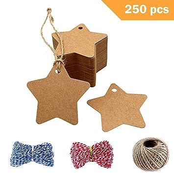 Amazon Com 250 Pcs Star Kraft Paper Gift Tags Blank Gift Tag