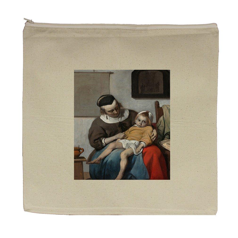 The Sick Child (Gabriel Metsu) Canvas Zipper Tote Bag Makeup Bag