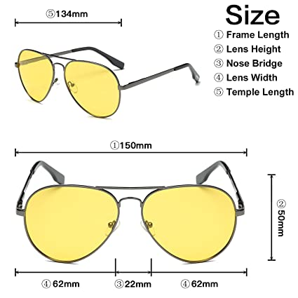 2b4f3d927d9 Amazon.com  AMZTM Classic Fashion Double Bridge Metal Frame Polarized Lens  Aviator Men and Women Sunglasses (Grey Frame Yellow