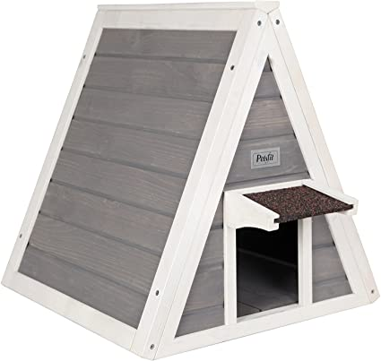 Petsfit Outdoor Triangle Cat House with Escape Door for All Cats on feral cat shelter house, feral cat house plans, feral cat shelters for outside, feral cats in winter care, dog house outside, diy insulated cat house outside,