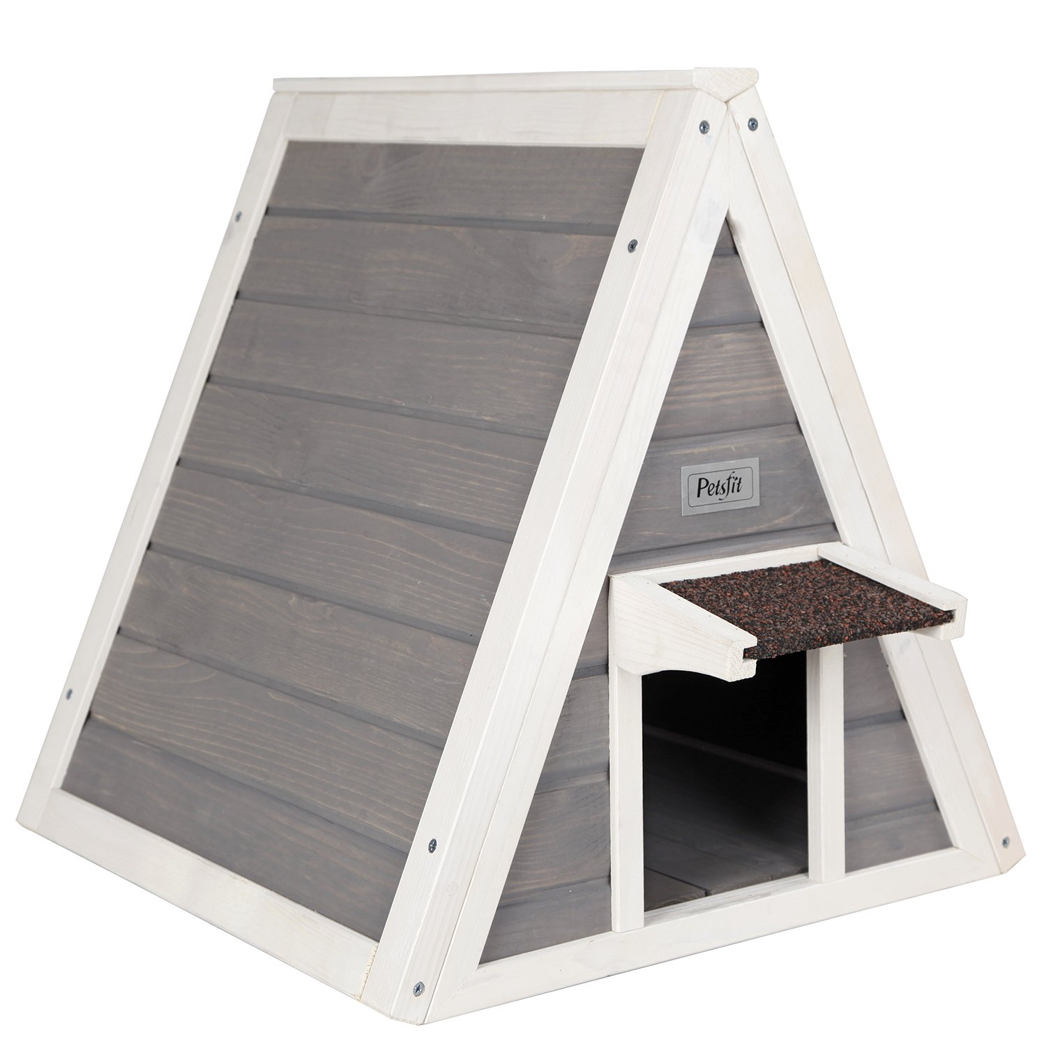 Light Grey Petsfit Outdoor Cat House for 1-2 Cats,1-Year Warranty