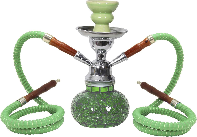 MADGROW. Cachimba Modelo Cristal Roto, Cristal. Shisha de 25 cm Altura, 2 mangueras. Incluye Pack de 10 carbones y 10 boquillas. Verde.