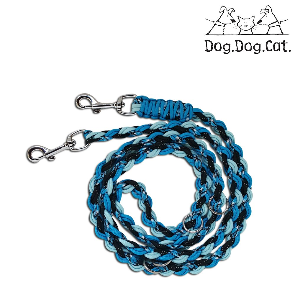 Para cord double ended Versatile hands-free dog walking or training leash (6 foot adjustable, Lime Green Reflective and Glow in the dark) Blue Glow Reflective) I Wanna Go to Summercamp