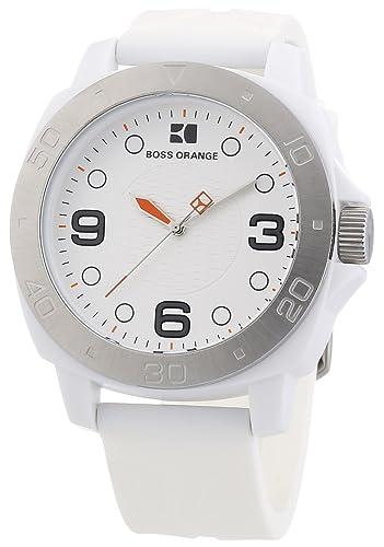 927c5a7d9f2f Hugo Boss Boss Orange - Reloj analógico de cuarzo para hombre con correa de  silicona