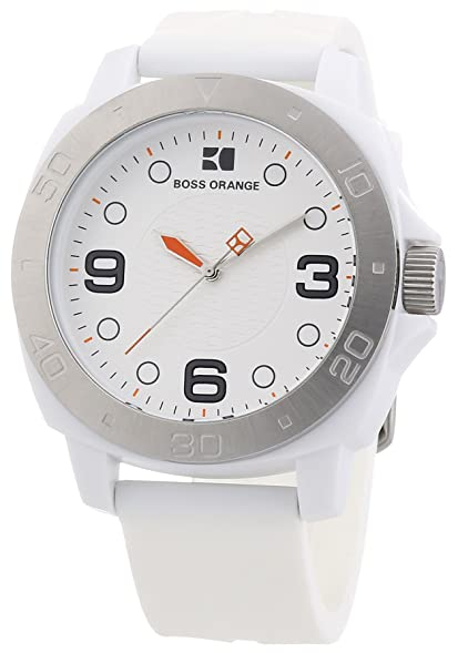 Hugo Boss Orange White Dial White Rubber Strap Mens Watch 1512663