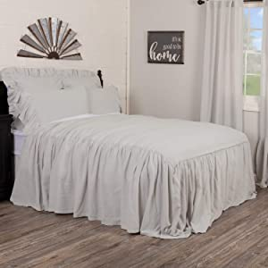 Piper Classics Annabelle Gray Ruffled Bedspread, California King Size Coverlet, Skirted on 3 Sides, Light Gray, Lightweight, Vintage Farmhouse Style Bedding