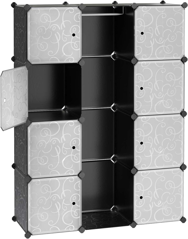 SONGMICS Armario, Ropero,Estantería Modular Plástico PP con Barra para Colgar Ropa, 108 x 36 x 143 cm, Diseño Estampado, Negro LPC30B