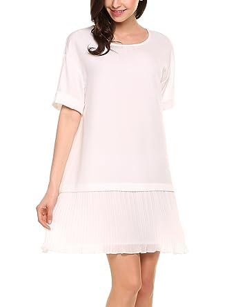 042a8c3f4a579 Zeagoo Women s Casual Short Sleeve A-Line Ruffle Hem Mini Shift Dress
