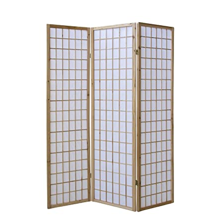 Homestyle4u 68 Paravent Raumteiler 3 Teilig Holz Natur Reispapier