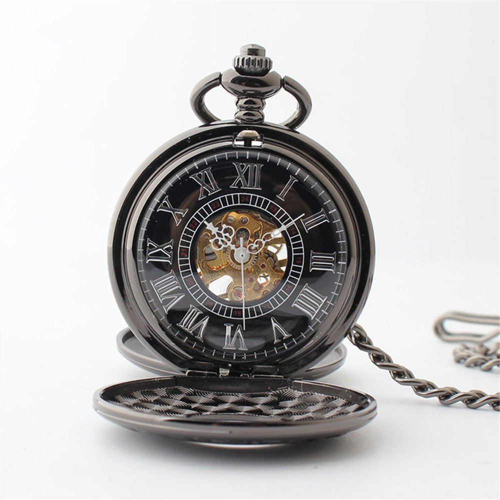 Zxcvlina Classic Smooth Creative Black Mechanical Pocket Watch Boutique Smooth Watchcase Double Open Retro Unisex Pocket Watch with Chain Suitable for Gift Giving by Zxcvlina (Image #4)