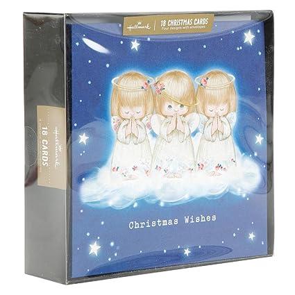 Angels Christmas Cards.Hallmark Signature Glitter Little Angels Design Boxed Christmas Card Pack Of 18