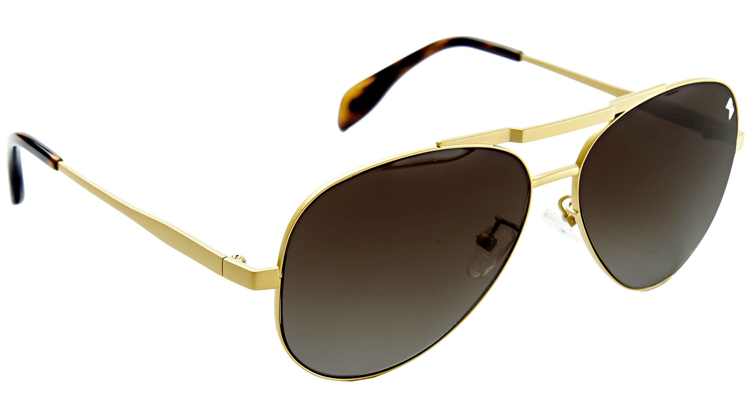 William Painter Gold Aviator Sunglasses with Aerospace Grade Titanium & Nylon Polarized Lenses, The Hughes
