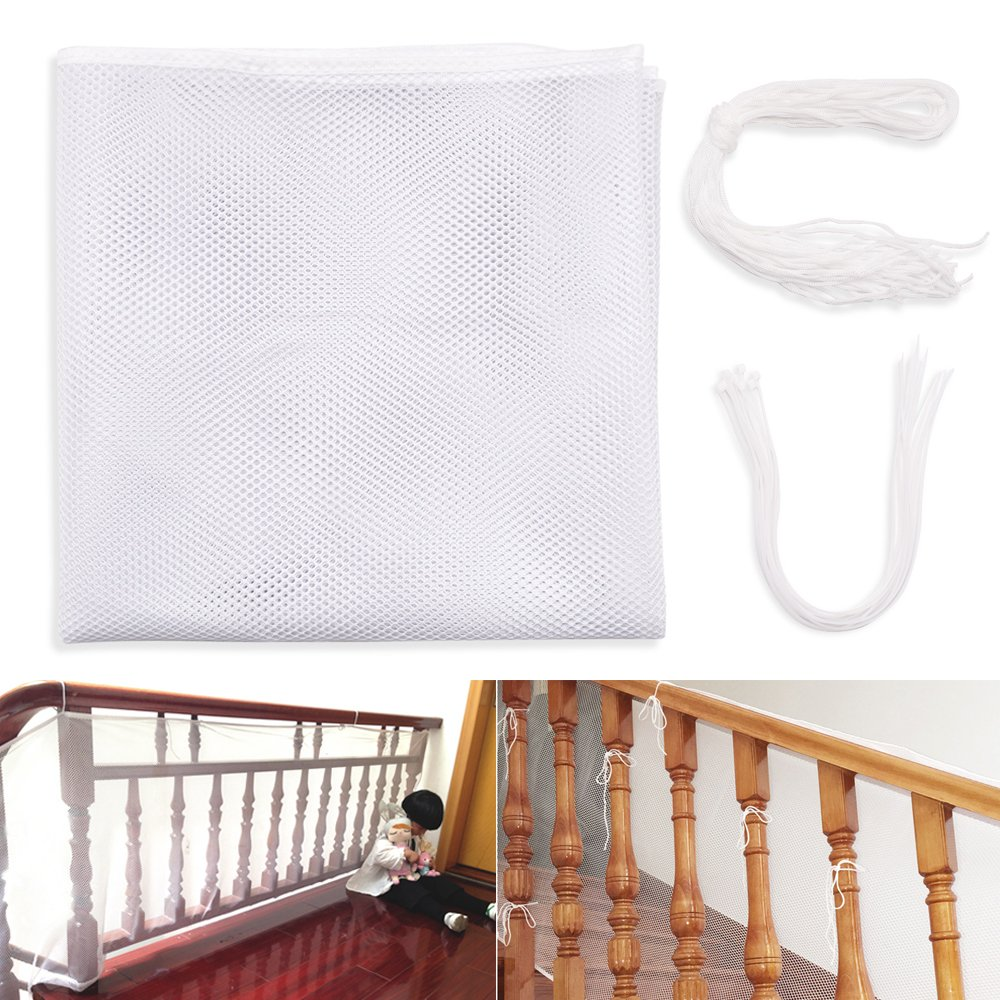 Children Safety Rail Balcony Stairs Protective Net Banister Stair Mesh Nets for Baby Toddlers Kids Pet Toy Safe on Indoor Outdoor Stairway, Balcony or Patios, 9.8x2.5 ft Protector