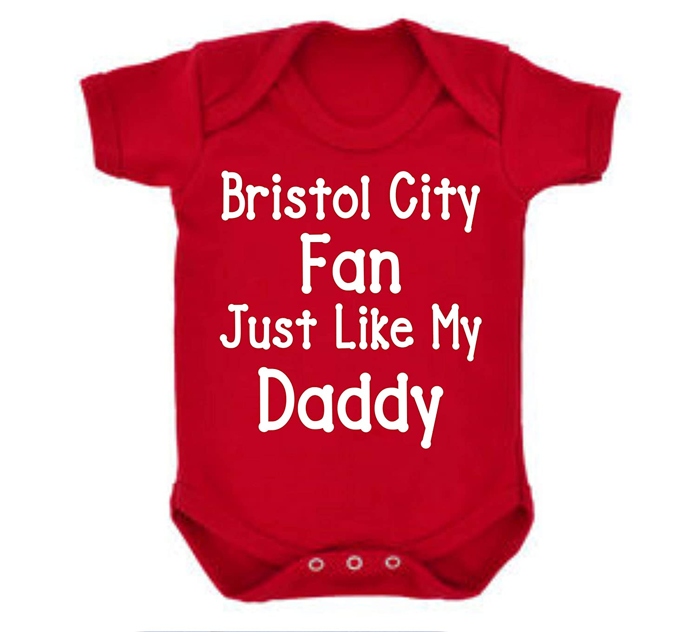 Bristol City Just Like Daddy Football Fan Baby Grow Vest Boy Girl Gift Romper Newborn Shower