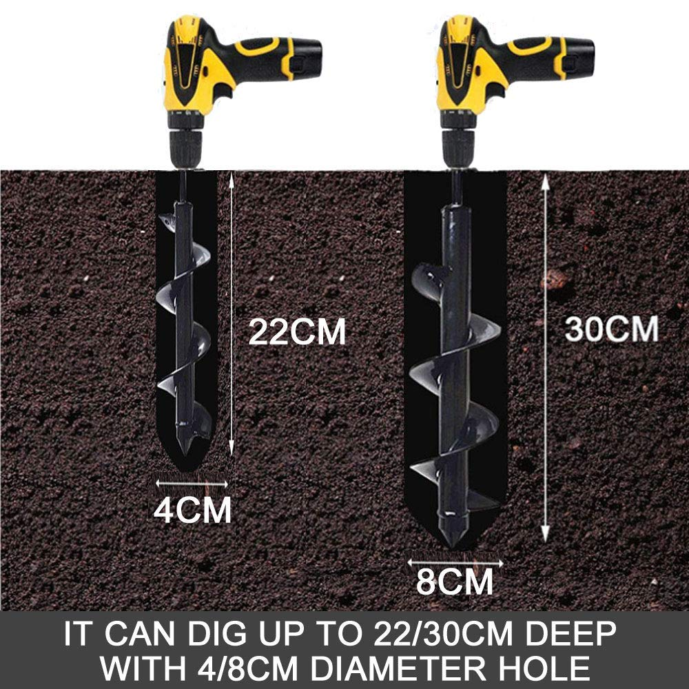 with Garden Gloves Spiral Rapid Planter Tool for Seedlings Flower Bulbs Planting HOTOOLME Earth Auger Drill Bit Set 2 Pcs Garden Post Hole Digger with Non-Slip Hex Drive 12x3 and 9x1.6