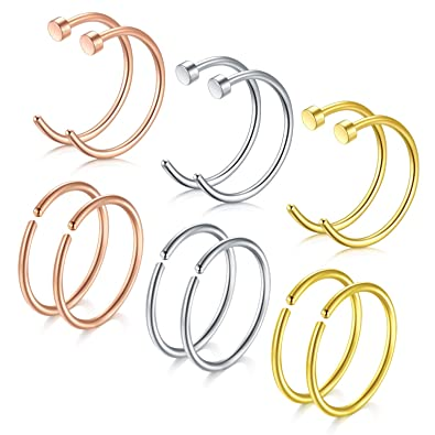Pair 20G Surgical Steel Nose 8MM Open Hoop Ring Body Piercing Jewelry Gift