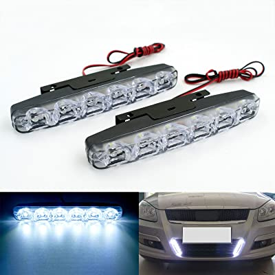 Rayhoo 2 pcs Set Waterproof High Power 6W 12V 6000K Xenon Slim COB LED DRL Daylight Driving Daytime Running Light Lamp For Car SUV Sedan Coupe Vehicle Universal (Xenon White): Automotive