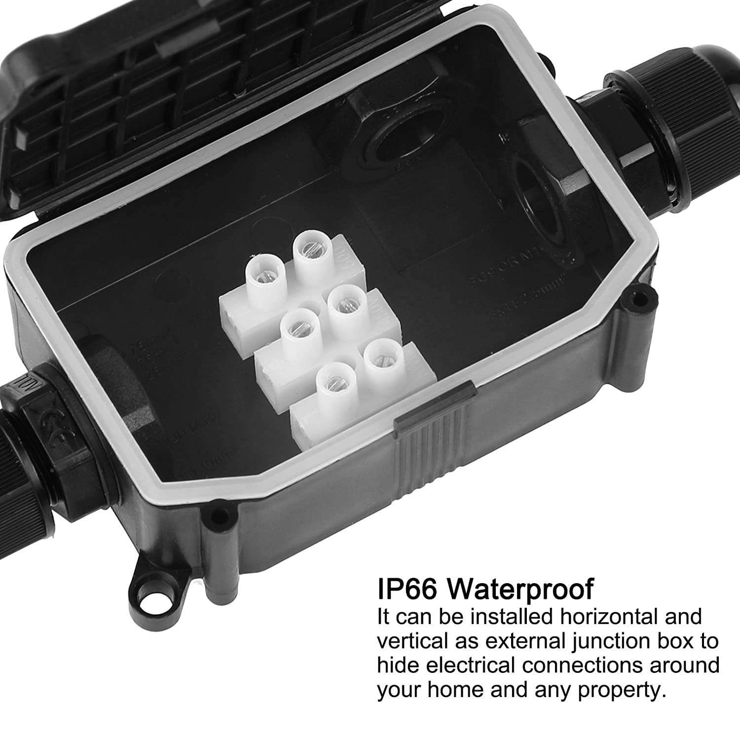 ONEVER External Junction Box | 3 Cable PG9 Underground Junction Box | IP66  Waterproof Plastic Protection Connector | Black     Amazon.com