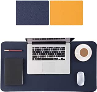 Large Desk Pad 90x40cm, Double-Sided Desk Mat, PU Leather Gaming Mouse Pad for PC Laptop, Waterproof Mouse Keyboard Mat, Non-Slip Desk Protector, Desk Writing Pad for Home Office Work, Navy & Yellow