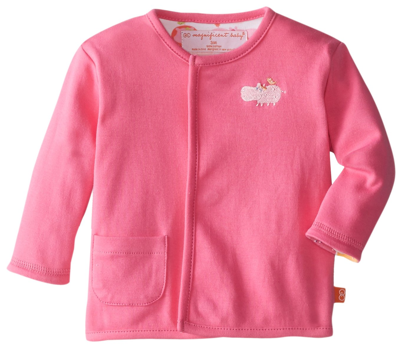 Magnificent Baby Baby-Girls Hippo Girl Reversible Cardigan 2224