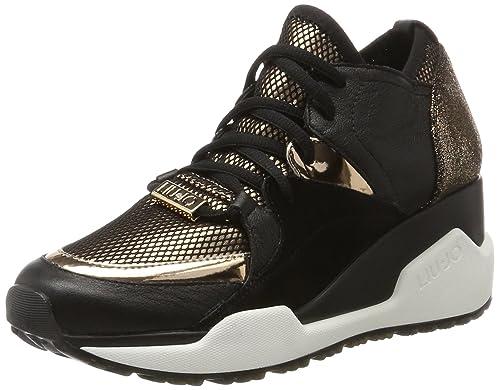 Liu Jo Anastacia nero scarpe sneakers donna nere stringate con zeppa alta  interna n° 37  Amazon.it  Scarpe e borse bc41335010a