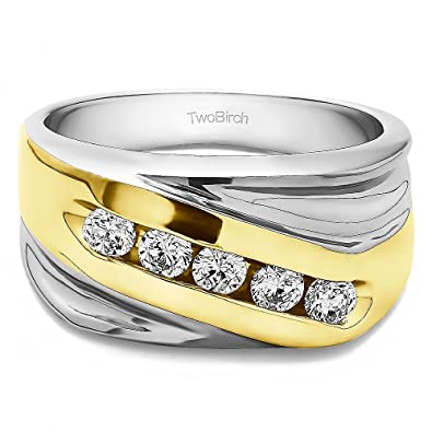 Size 3 to 15 in 1//4 Size Intervals 0.5Ct Sterling Silver Gents Wedding Band Cubic Zirconia
