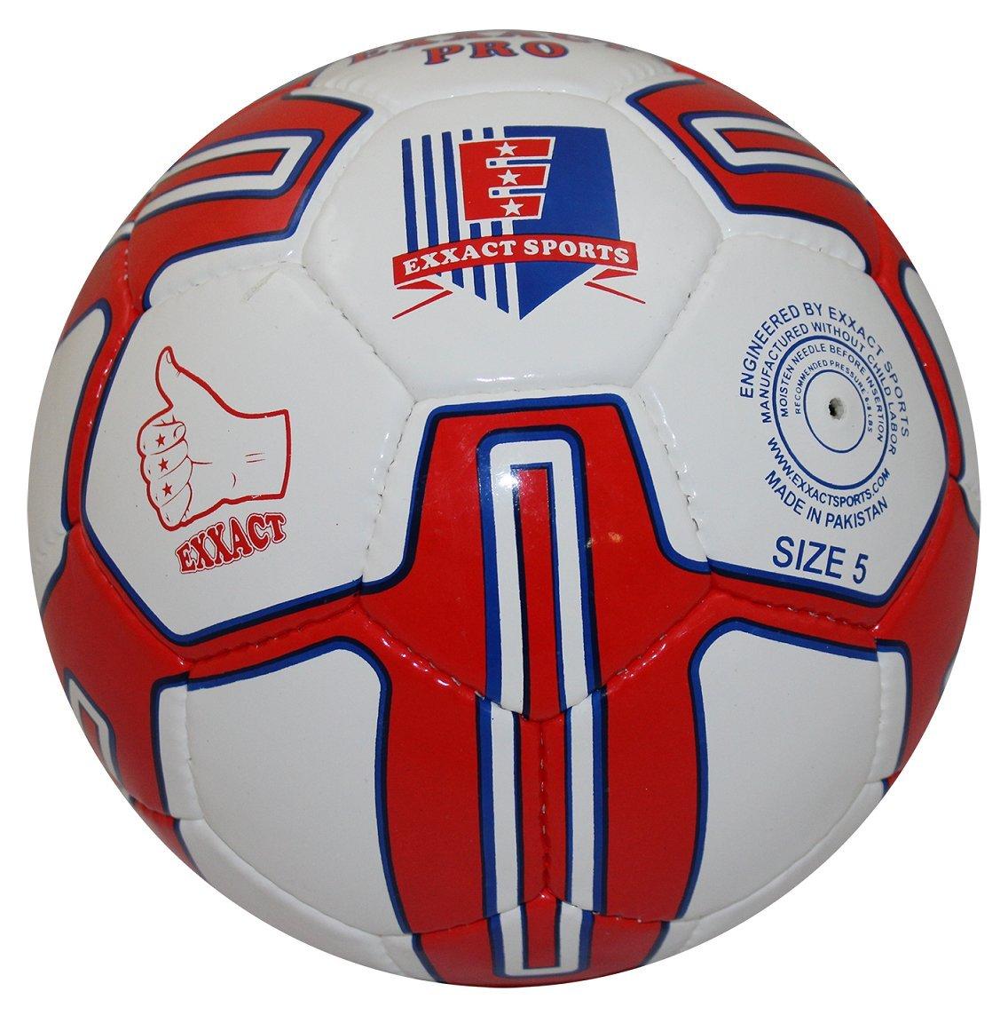Exxact Pro Hand Stitchサッカートレーニングボール& Matchボール B0784NNZNJレッド Size 5