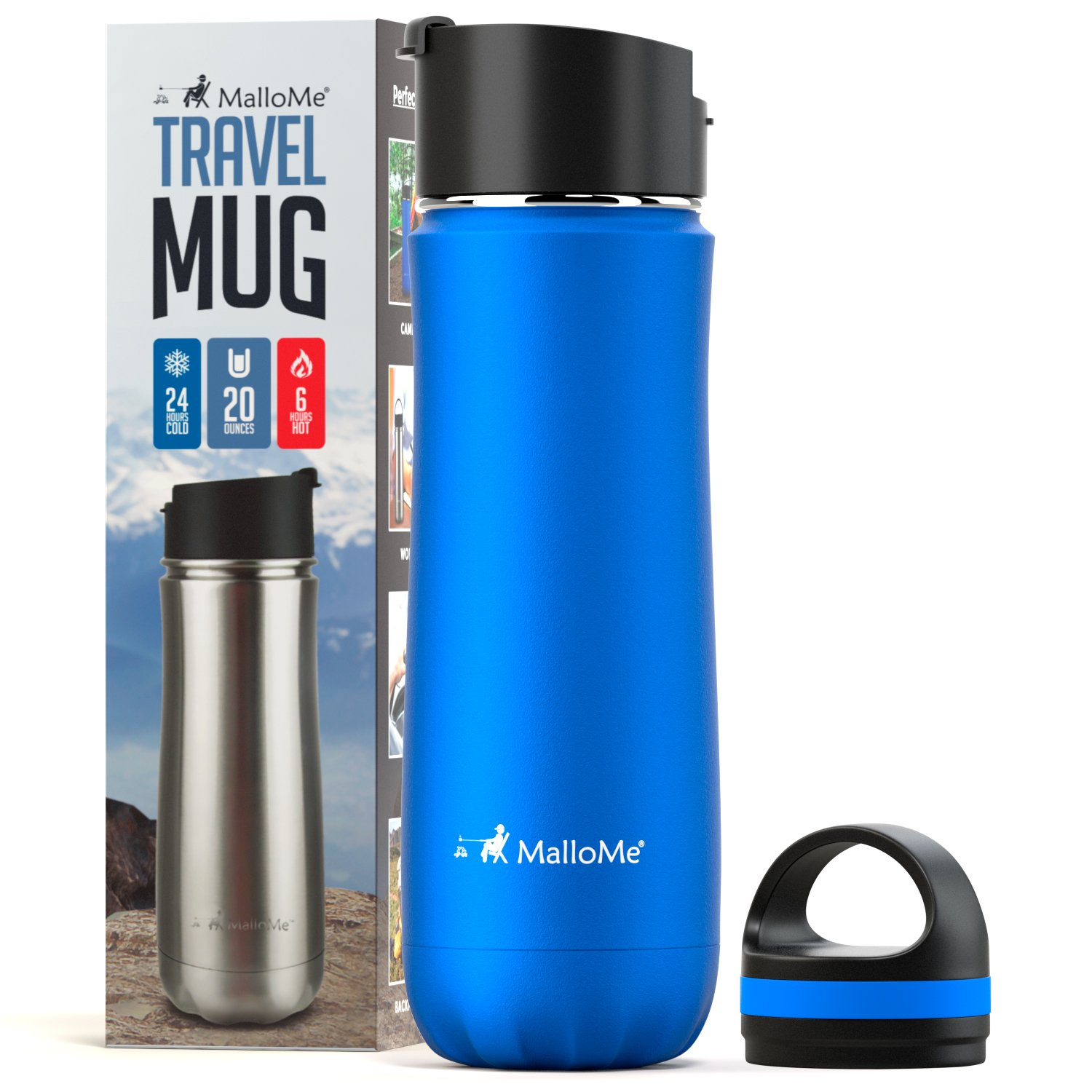 9318a389f3 MalloMe Stainless Steel Coffee Travel Mug – 20 oz Vacuum Insulated Water  Bottle Thermos Flask Cup Combo – Triple Walled Tumbler, 7 Colors, Two BPA  Free Leak ...
