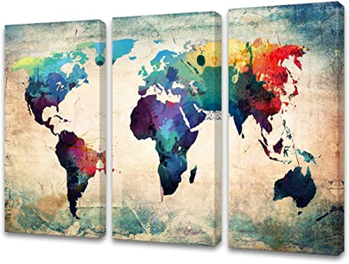 Baisuwallart W60148 3 pieces Abstract World Map Canvas Painting Vintage Posters and Prints Colorful Wall Art Wall Picture