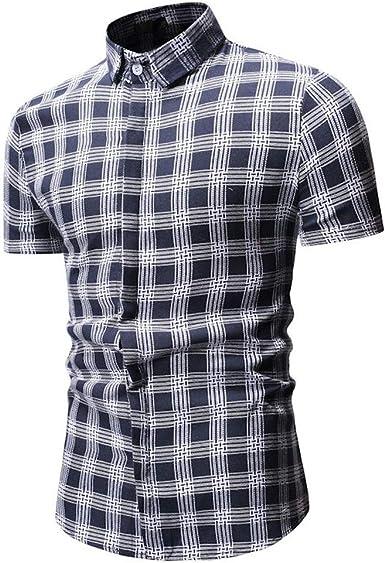 YEBIRAL Polos Manga Corta Hombre, Cuadros Estampado Tops Básico Moda Slim Casual Polo con Botones Camiseta Blusa para Hombre Verano: Amazon.es: Ropa y accesorios