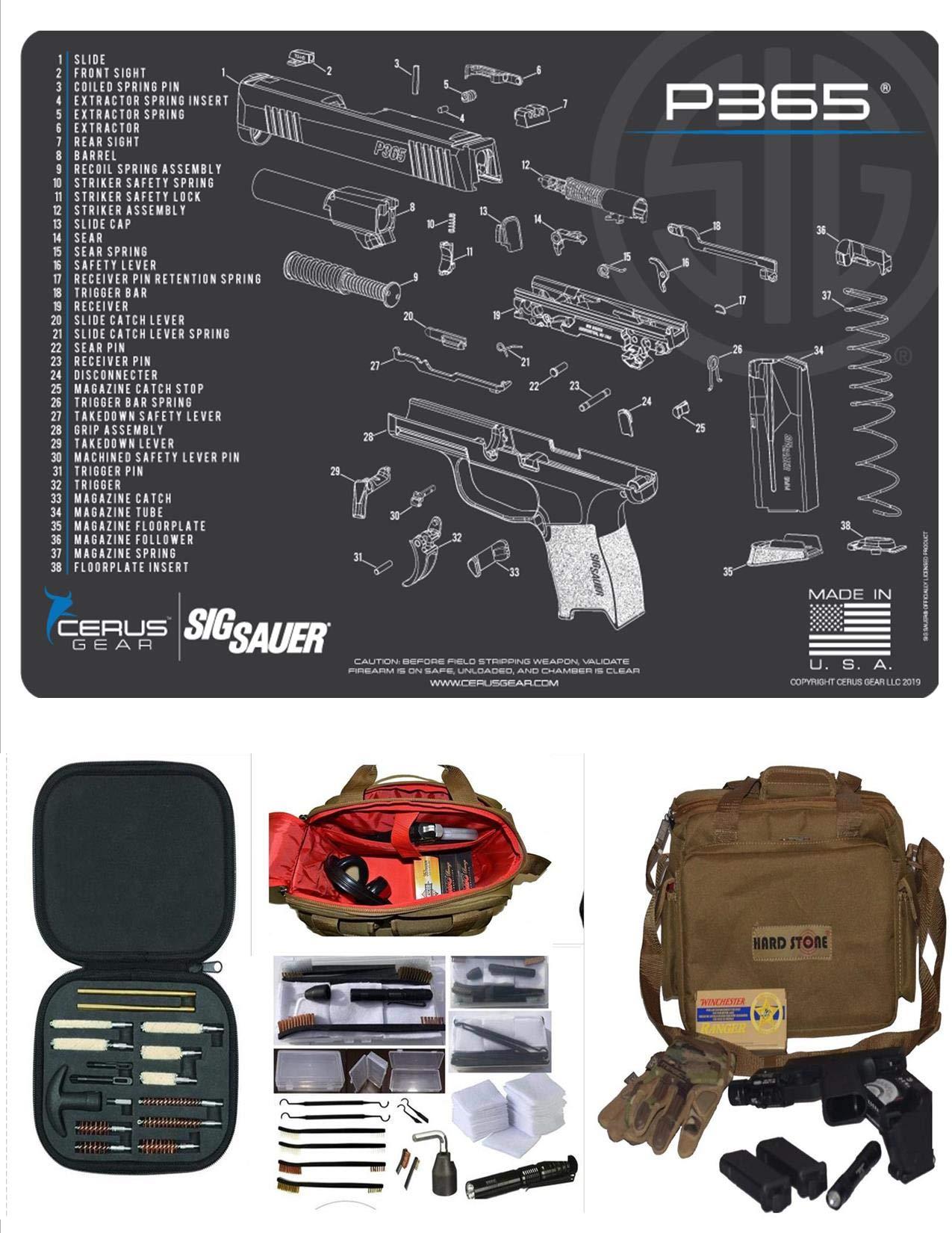 EDOG SIG P365 Cerus Schematic Gun Cleaning Mat & Coyote Hard Stone Hot Shot High Vis Handgun Pistol Range Duty Bag & 27 Pc Hand Gun Range/Field/Bench Cleaning Kit
