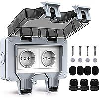 Tikola enchufes impermeables para exteriores, doble enchufe eléctrico para exteriores IP66, cubiertas de enchufes…