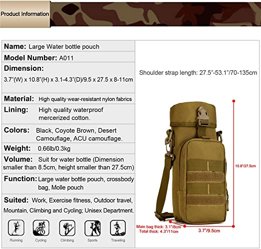 Tactical Military Water Bottle Pouch Molle Kettle Bag Holder 8C