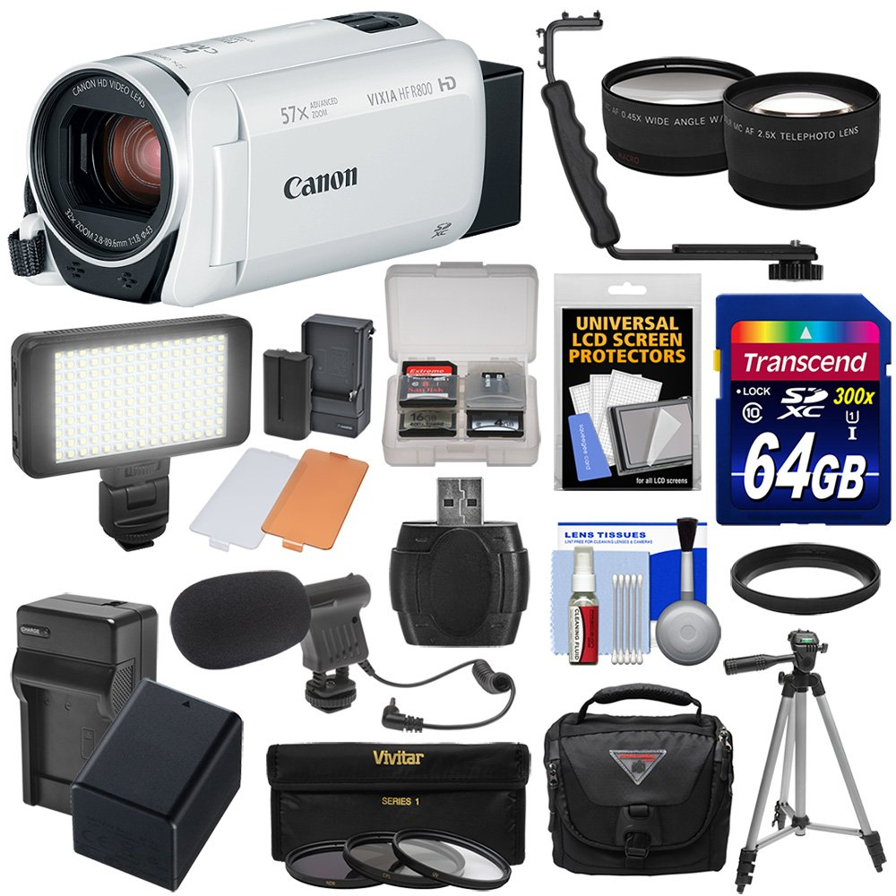 Canon Vixia HF R800 1080p HD Video Camera Camcorder (White) with 64GB Card + Battery & Charger + Case + Tripod + 3 Filters + LED + Mic + 2 Lens Kit
