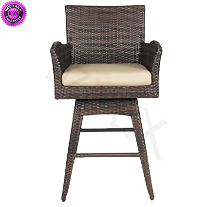 DzVeX Outdoor Patio All-Weather Brown PE Wicker Swivel Bar Stool w/Cushion  And - Amazon.com : DzVeX Outdoor Patio All-Weather Brown PE Wicker Swivel