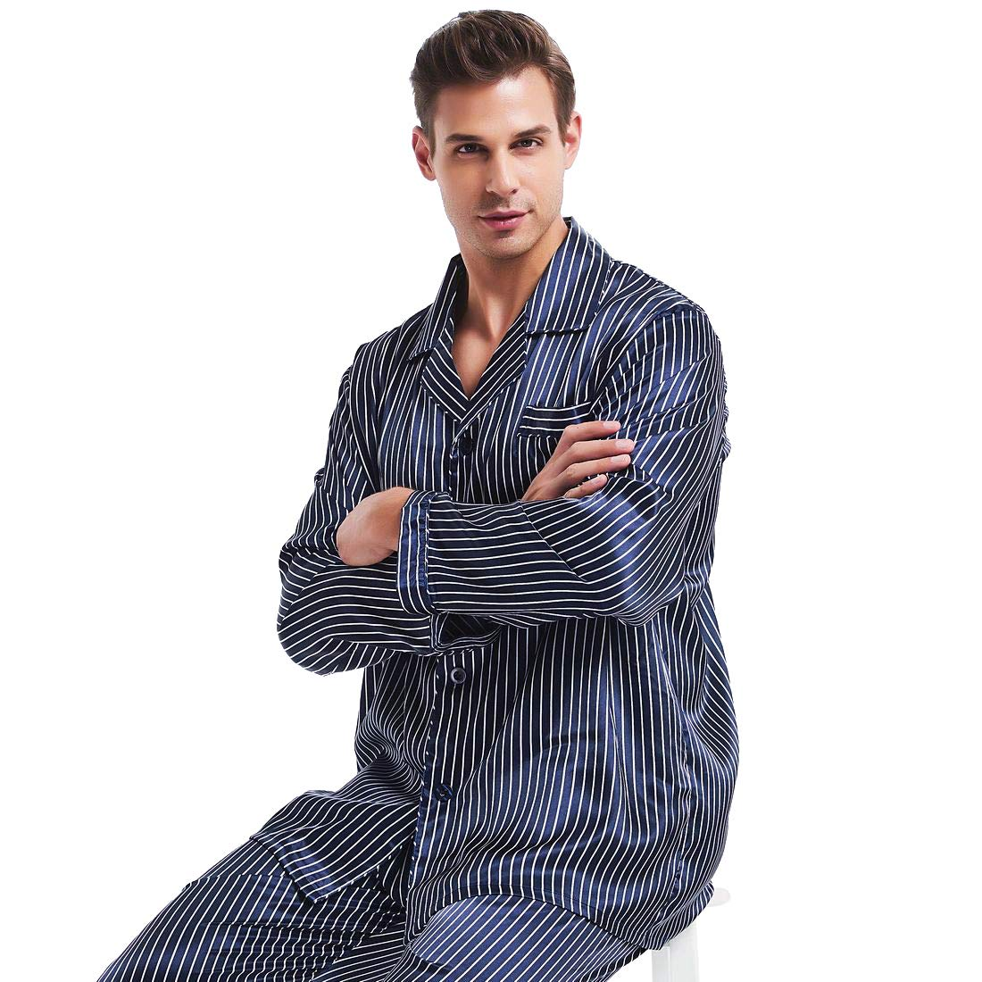 Mens Silk Satin Pajamas Set Sleepwear Loungewear S~4XL Plus Gifts at Amazon  Men s Clothing store  0b30be3a9