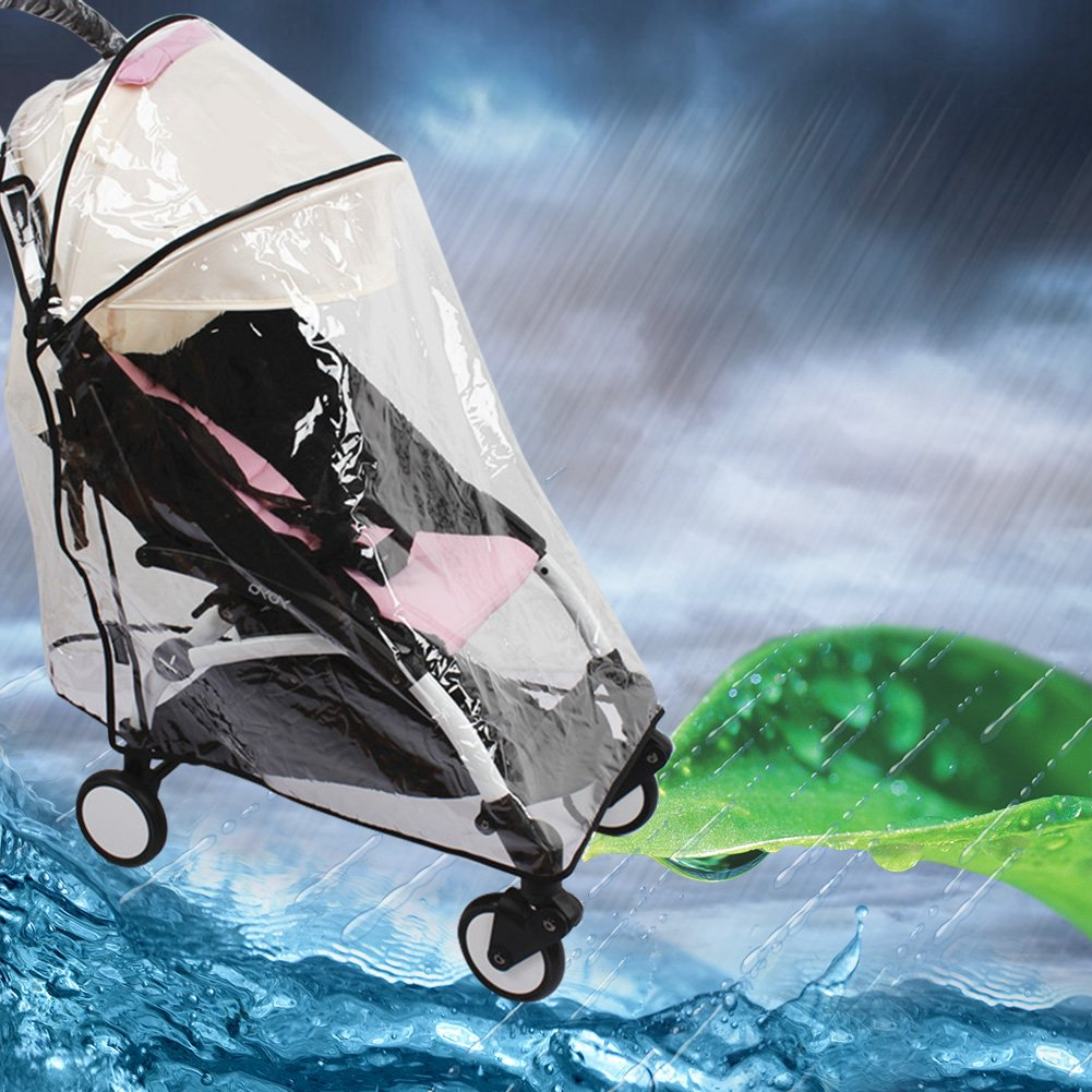 Deluxe Stroller Weather Shield, Baby Rain Cover Universal Size Waterproof Water Resistant Windproof See Thru Ventilation Protection Shade Umbrella Pram Vinyl Clear Plastic Weather Shield (A) Luerme