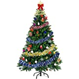 AHK 5FT Pre-Lit Artificial Christmas Pine Tree Holiday Decoration w/ 30 Warm White Lights, Metal Stand