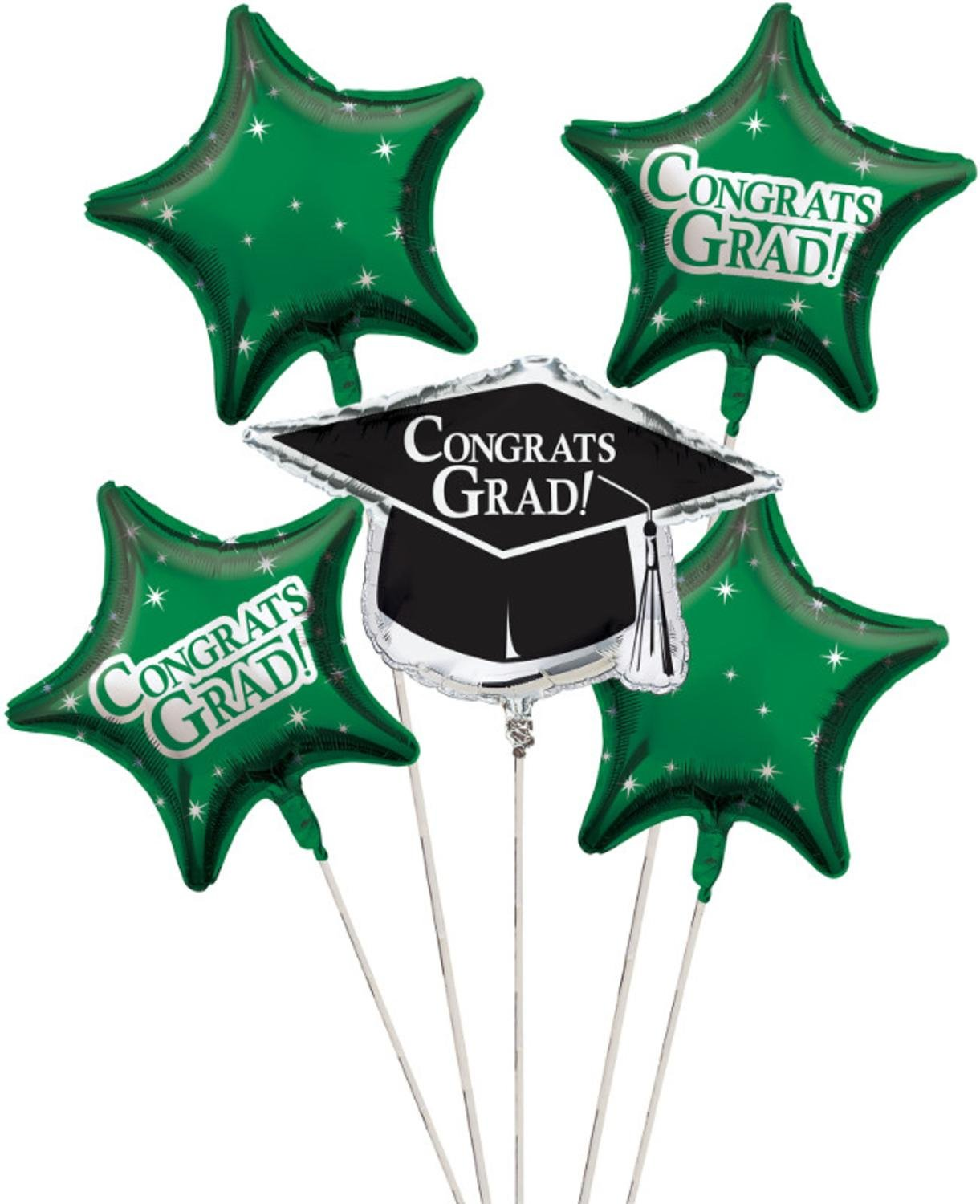 Club Pack of 12 Emerald Green Metallic Foil ''Congrats Grad'' Graduation Day Party Balloon Clusters by Party Central