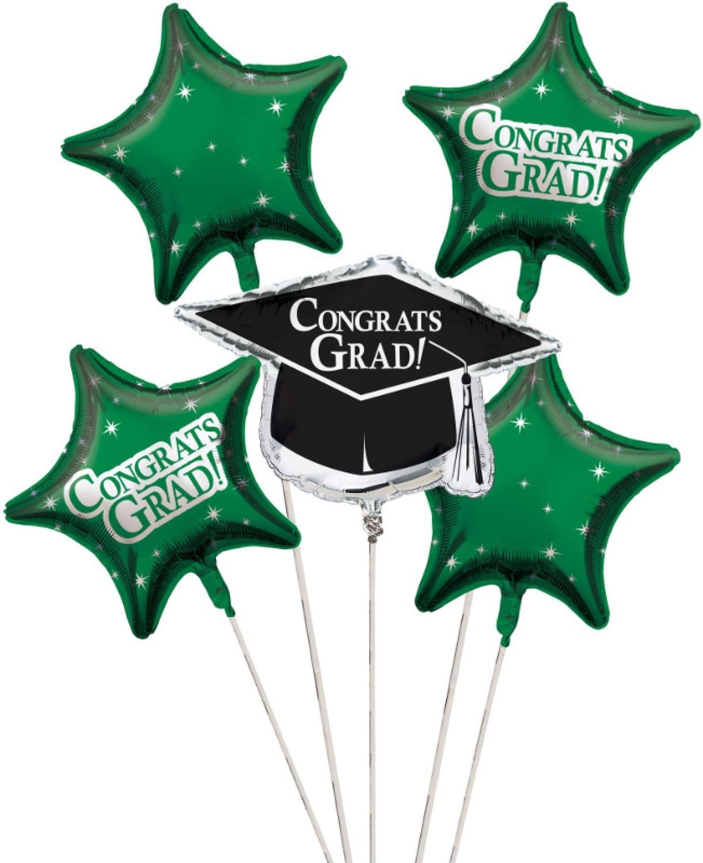 Club Pack of 12 Emerald Green Metallic Foil ''Congrats Grad'' Graduation Day Party Balloon Clusters