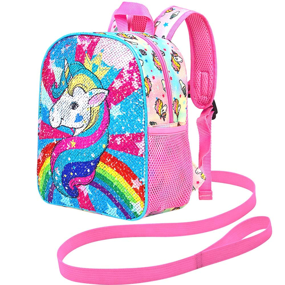 """Removable Tether Toddler Backpack Leash 10.5/"""" Unicorn Safety Harness Bag Sequin"""
