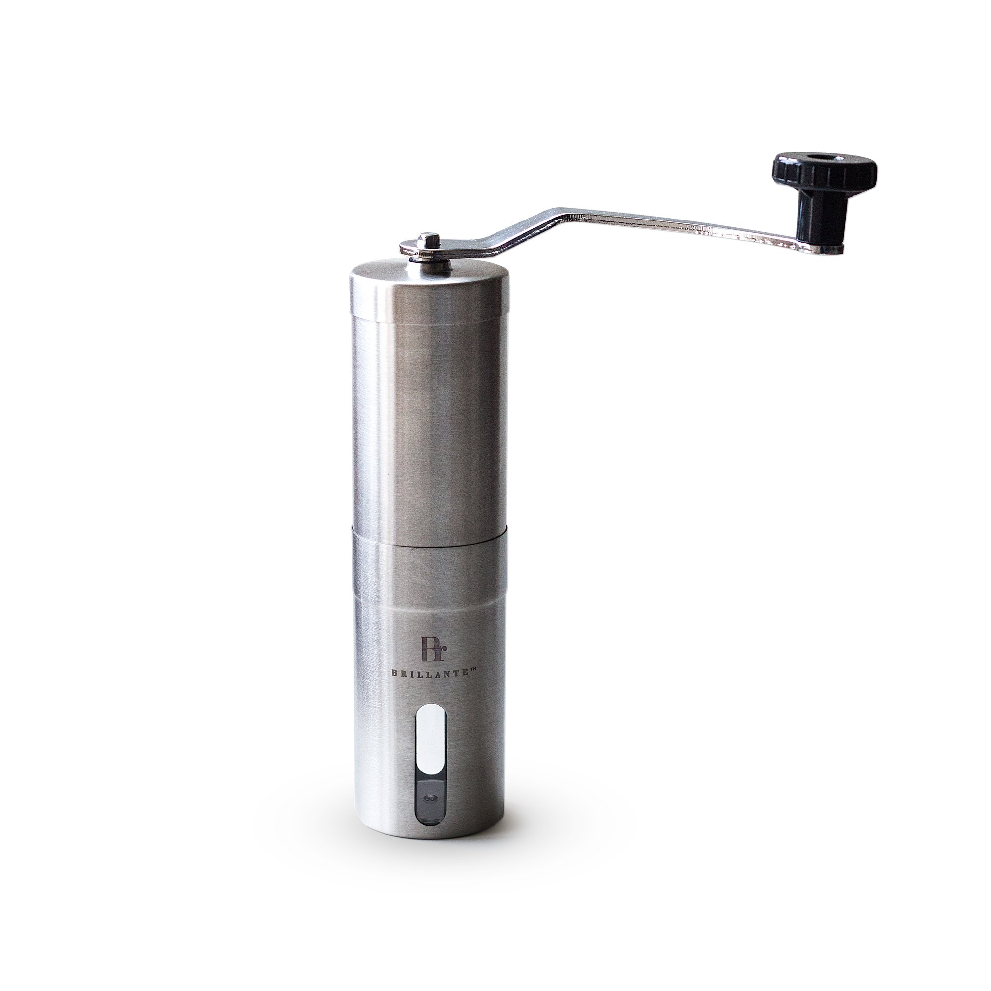 Brillante Manual Coffee Grinder - Superior Burr Design for Consistently Brewing Espresso, Pour Over, French Press & Turkish Coffee - Hand Crank Mill with Adjustable Ceramic Conical Burr (BR-MCG-SS1)