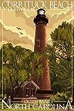 Currituck Beach Lighthouse - Outer Banks, North Carolina (9x12 Art Print, Wall Decor Travel Poster)