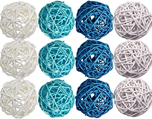 Byher 12pcs Large Decorative Ball Wicker Rattan Ball for Bowls, Vase Fillers Home Decor (Coastal Blue, Large - 3.5Inch)